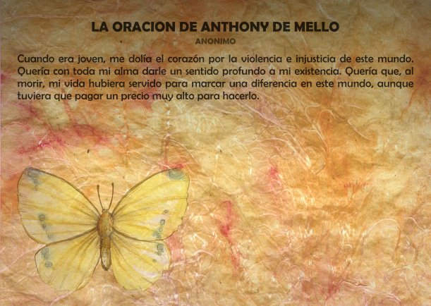 Grafica 'La oración de Anthony de Mello' Categoria 'Crecimiento' Palabra 'Oracion'
